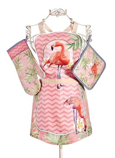 The Mia Tropic Flamingo A 3lü Set - Önlük Eldiven Tutaç Renkli